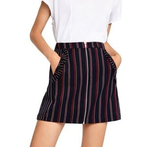 BCBG Striped Ruffle Trim Mini Skirt